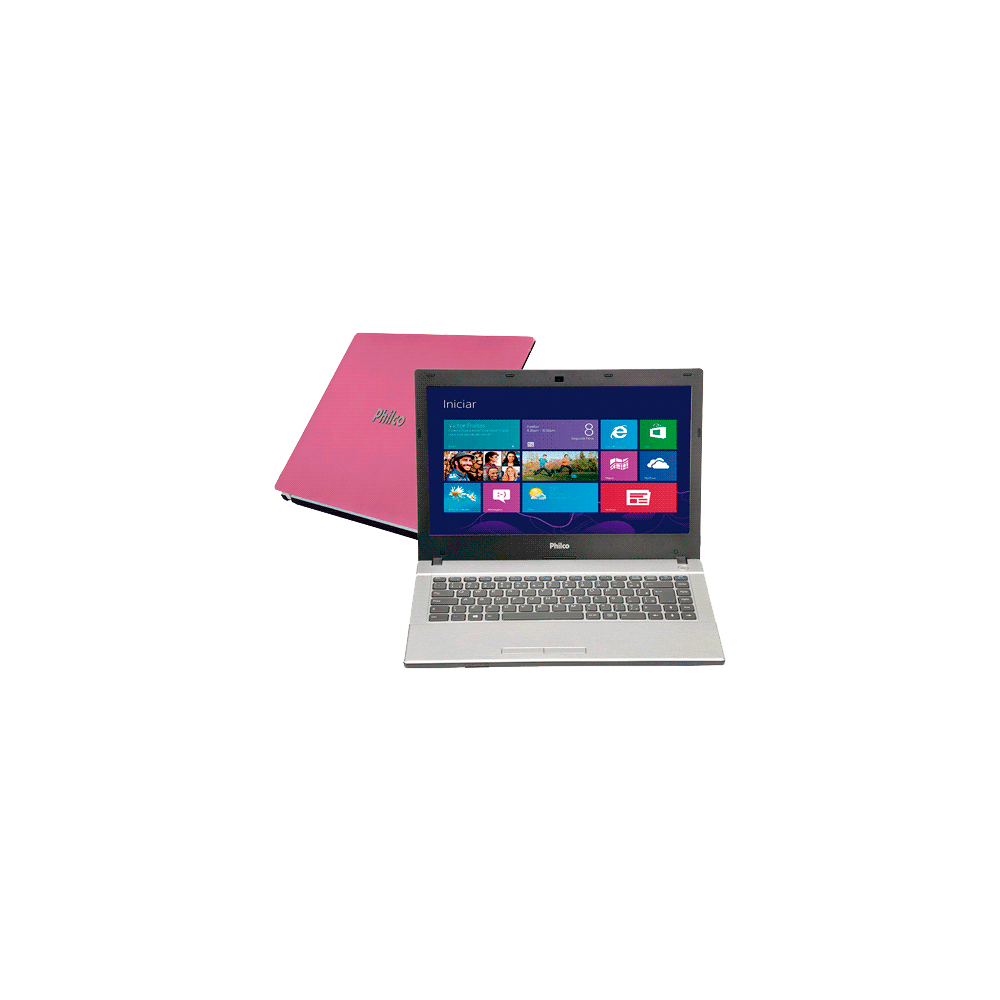 "Notebook Philco 14F-R724WS - Rosa - Amd C-50 - RAM 4GB - HD 500GB - Tela 14"" - Windows 7 Starter"