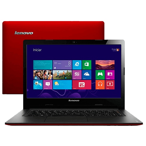 "Notebook Lenovo - S400-80BY0004BR - Vermelho - Intel Core i3-2365M - RAM 4GB - HD 500GB - Tela 14"" - Windows 8"