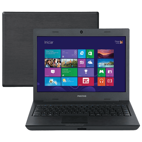 "Notebook Positivo Unique TV S2065 - Dual Core - RAM 4GB - HD 500GB - Tela 14"" - Windows 8"