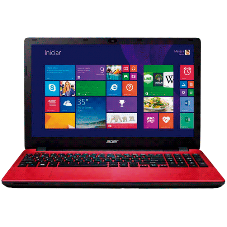"Notebook Acer E5-571-3513 - Intel Core i3-4005U - RAM 4GB - HD 1TB - LED 15.6"" - RED - Windows 8.1"