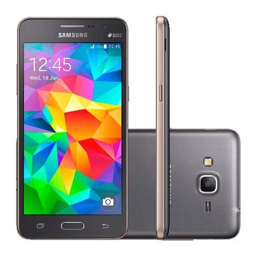 "Smartphone Samsung Galaxy Gran Prime Duos - Cinza - Dual-Chip - 8GB - 8MP - Tela 5"" - Android 4.4"