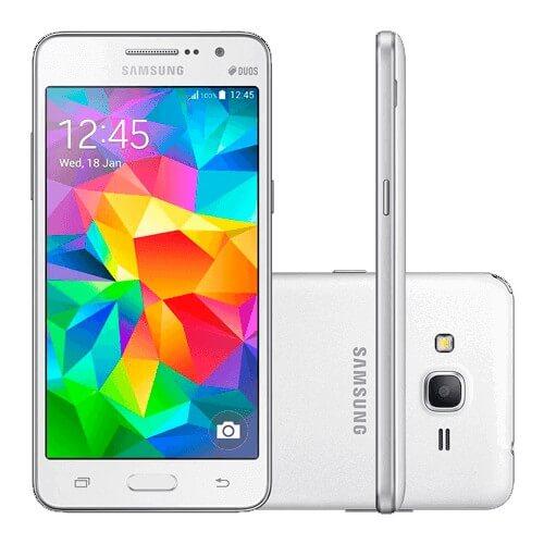 "Smartphone Samsung Galaxy Grand Prime G530M - Branco - 8GB - 8MP - Tela 5"" - Android 4.4"