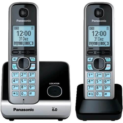 """Telefone s/ fio Panasonic KX-TG6712LBB + 1 Ramal - DECT 6.0 - Viva voz - Teclado iluminado - Visor de 1.8"""" - Bloqueio de chamada"""