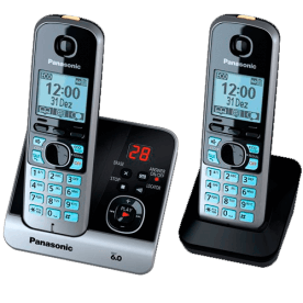 """Telefone s/ fio Panasonic KX-TG6722LBB + 1 Ramal DECT 6.0 - Bloqueio de chamada - Visor de 1.8"""" - Viva voz - Teclado iluminado"""