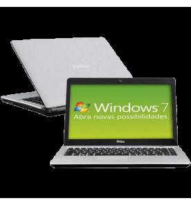 "Notebook Philco 14G-S123WS-B Dual Core N2600 - RAM 2GB - HD 320GB - Tela 14"" LED - Prata - Windows 7 Starter"