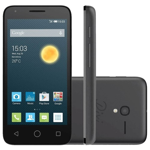 "Smartphone Alcatel OT-5017E Pixi 3 - Preto - Dual-Chip - 8GB - 8MP - Tela 4.5"" - Android 4.5"""