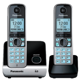 "Telefone s/ fio Panasonic KX-TG6713LBB + 2 Ramais DECT 6.0 - Visor de 1.8"" - Viva voz - Teclado iluminado - Bloqueio de chamada"