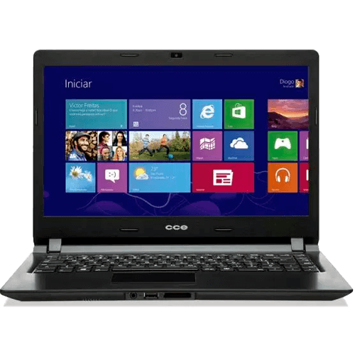 "Notebook CCE Ultra Thin U45W - Intel Celeron 847 - RAM 4GB - HD 320GB - Tela 14"" - Windows 8"