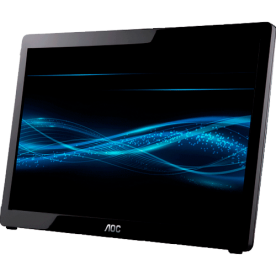 "Monitor AOC E1649FWU - USB - Widescreen - 15.6"" - 16ms - 60Hz - HD 1366x768 - Preto"