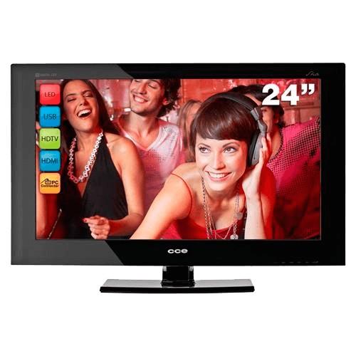 """TV LED 24"""" CCE LN244 - Preta - HDTV - HDMI - USB - Conversor Digital Integrado"""