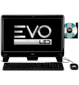 "Computador All in One AOC EVO OF185A001BRYRWH - AMD E-300 - RAM 2GB - HD 500GB - Tela 18,5"" - Windows 7 Starter"