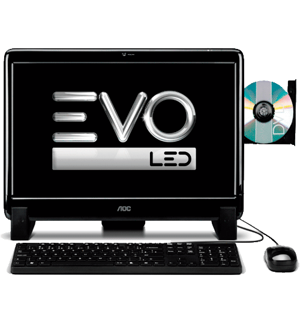 "Computador All in One AOC EVO M2011 20525U-LX - AMD Dual Core E1-1200 - RAM 2GB - HD 500GB - LED 20"" - Linux"