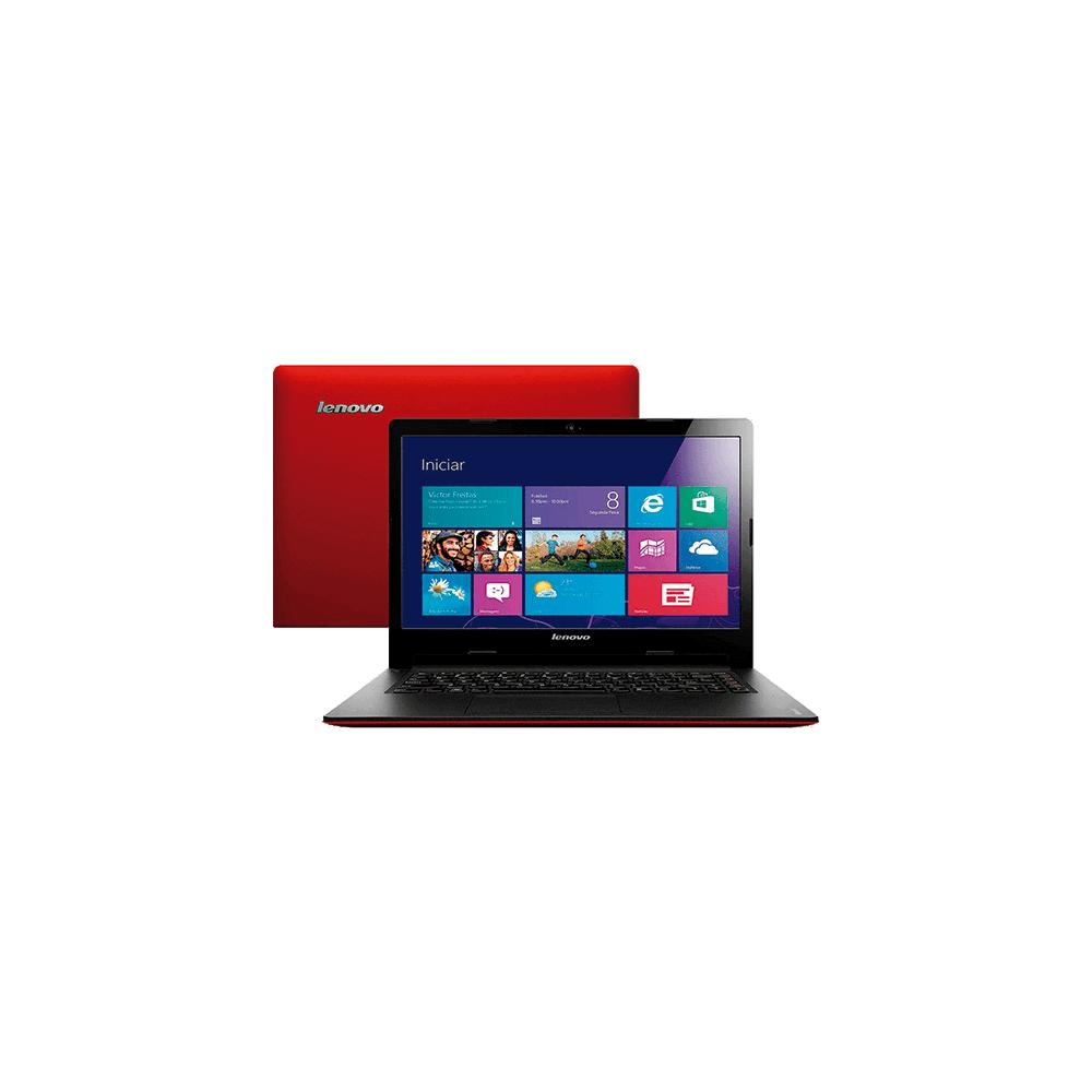 "Ultrabook Lenovo S400-631262P - Intel Core i3-3217U - RAM 4GB - HD 500GB - SSD 32GB - LED 14"" - Windows 8 - Vermelho"