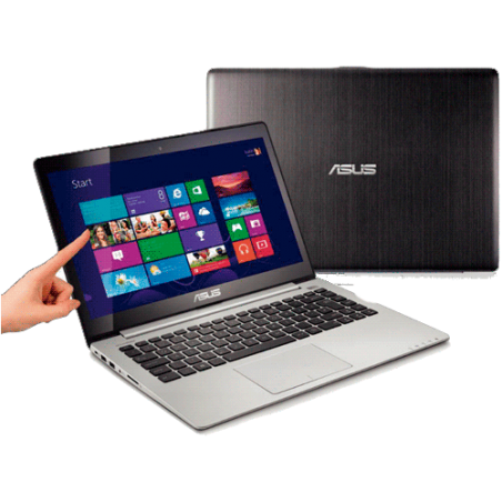 "Notebook Asus S400CA-BRA-CA192H Preto - Intel Core i3-2365M - HD 500GB - RAM 2GB - LED 14"" Touchscreen - Windows 8"