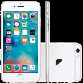 """iPhone 6 Plus original Apple na cor Prata com 64GB de armazenamento interno e tela retina HD de 5.5"""". Conexões móveis 4G LTE, Wi-Fi e Bluetooth. Câmera traseira iSight de 8MP e FaceTime HD de..."""