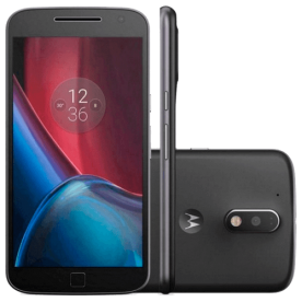 Smartphone Motorola Moto G4 Plus XT1641, cor preto, dual-chip, armazenamento 32GB, câmera 16MP e frontal de 5MP, tela de 5.5 polegadas e Android 6.0 Marshmallow.