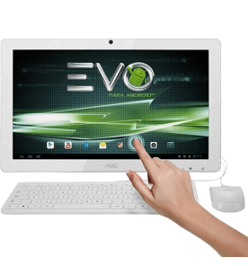 "Computador All in One AOC A2272PWHTN - Branco - Dual-Core - Touch - RAM 1GB - HD 8GB - Tela 21.5"" - Android 4.1"