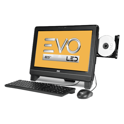 "Computador AOC EVO All in One 9425U-DA181MA - LED 18.5"" - AMD E-300 - RAM 2GB - HD 500GB - Windows 7 Starter"