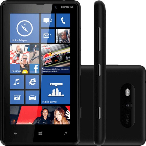 "Smartphone Nokia Lumia 820 Preto - 3G - 8GB - 8MP - Tela 4.3"" - Windows Phone 8"