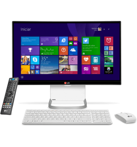 "Computador All in One LG 24V550 - Branco - TV Digital - Intel Core i5-5200U - RAM 4GB - HD 500GB - Tela 23.8"" - Windows 10"