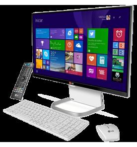 "Computador All in One LG 24V550 - Branco - TV Digital - Intel Core i5-5200U - RAM 4GB - HD 500GB - Tela 23.8"" - Windows 10"