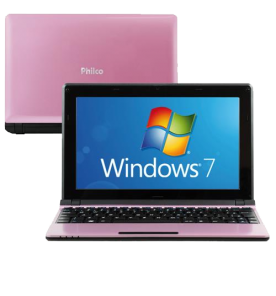 "Netbook Philco 10C-R123WS - Rosa - Intel Atom D2500 - RAM 2GB - HD 320GB - Tela 10.1"" - Windows 7"