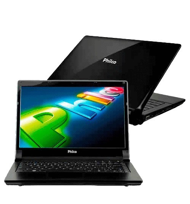 "Notebook Philco 14H-P123WS - Preto - Intel Atom D2500 - RAM 2GB - HD 320GB - Tela 14"" - Windows 7 Starter"