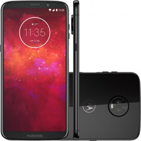 "Smartphone Motorola Moto Z3 Play - Onix - 64GB - RAM 4GB - Octa Core - 4G - 12MP - Tela 6"" - Android 9"