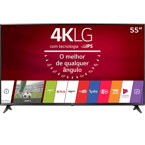 "Smart TV LED 55"" LG 55UJ6300 - Ultra HD 4K - HDMI - USB - Wi-Fi - WebOS 3.5 - Conversor Digital"