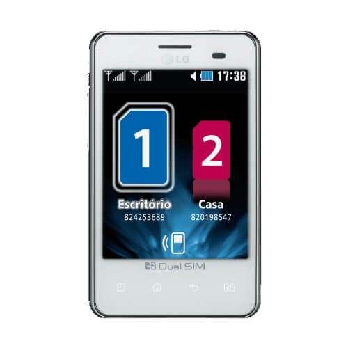 "Smartphone LG Optimus L3 E405 - Dual Chip - 3G - Wi-Fi - 3.2"" - Android 2.3 - 3.2MP - Branco"