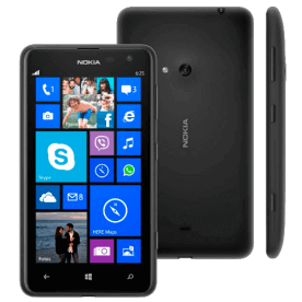"Smartphone Nokia Lumia 625 Preto - 4G - 8GB - 5MP - Tela 4.7"" - Bluetooth - Windows Phone 8 - Desbloqueado"