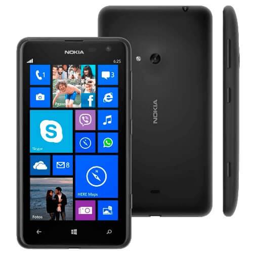 """Smartphone Nokia Lumia 625 Preto - 4G - 8GB - 5MP - Tela 4.7"""" - Bluetooth - Windows Phone 8 - Desbloqueado"""