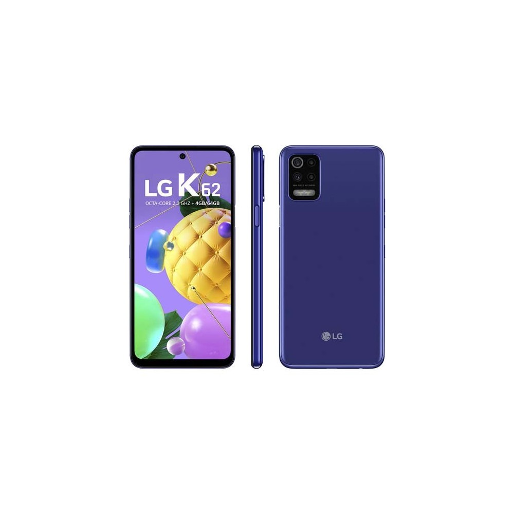 "Smartphone LG K62 - Azul - 64GB - RAM 4GB - Octa Core - 4G - Câmera Quádrupla - Tela 6.6"" - Android 10"