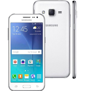 "Smartphone Samsung Galaxy J2 - Branco - 8GB - RAM 1GB - Quad Core - 4G - 5MP - Tela 5.5"" - Android 4.4"