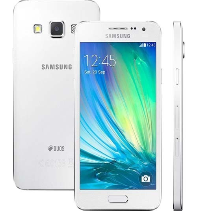 "Smartphone Samsung Galaxy A3 - Branco - 16GB - RAM 1GB - Quad Core - 4G - 8MP - Tela 4.5"" - Android 6"