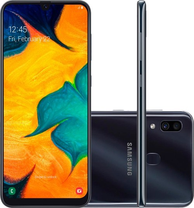 "Smartphone Samsung Galaxy A30 - Preto - 64GB - RAM 4GB - Octa Core - 4G - Câmera dupla - Tela 6.4"" - Android 10"