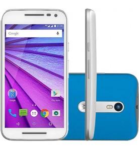 "Smartphone Motorola Moto G3 - Branco/Azul - 16GB - RAM 1GB - Quad Core - 4G - 13MP - Tela 5"" - Android 5.1"