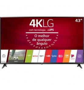 "Smart TV LED 43"" LG 43UJ6300 - Ultra HD 4K - HDR Ativo - HDMI - USB - Wi-Fi - WebOS 3.5 - Conversor Digital"