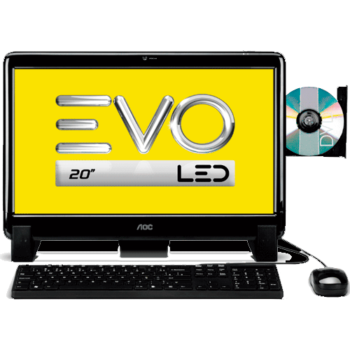 "Computador AOC EVO All in One 20641U-W8SL - AMD E2-1800 Dual Core - RAM 4GB - HD 1TB - 20"" Wide LED - Windows 8"
